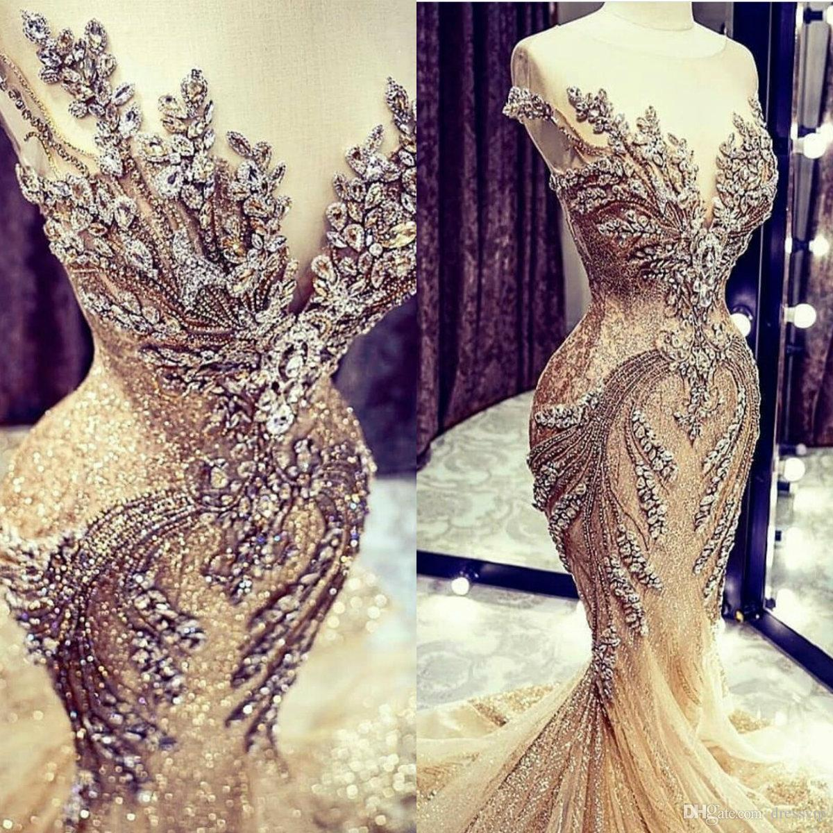 Champagne Wedding Dresses Lace Crystal Beads Sequin Sweep Train Jewel Neck Mermaid Wedding Dress Real Picture Cap Sleeve Luxury Bridal Gowns