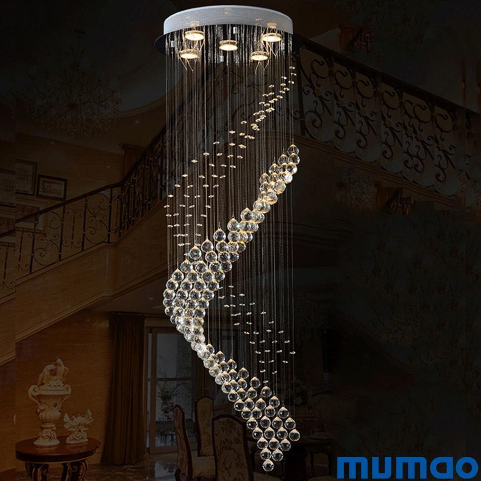 Modern LED Spiral Crystal Chandelier Lighting for Foyer Stair Staircase Bedroom Hotel Hall Ceiling Hanging Suspension Pendant Lights Lamp