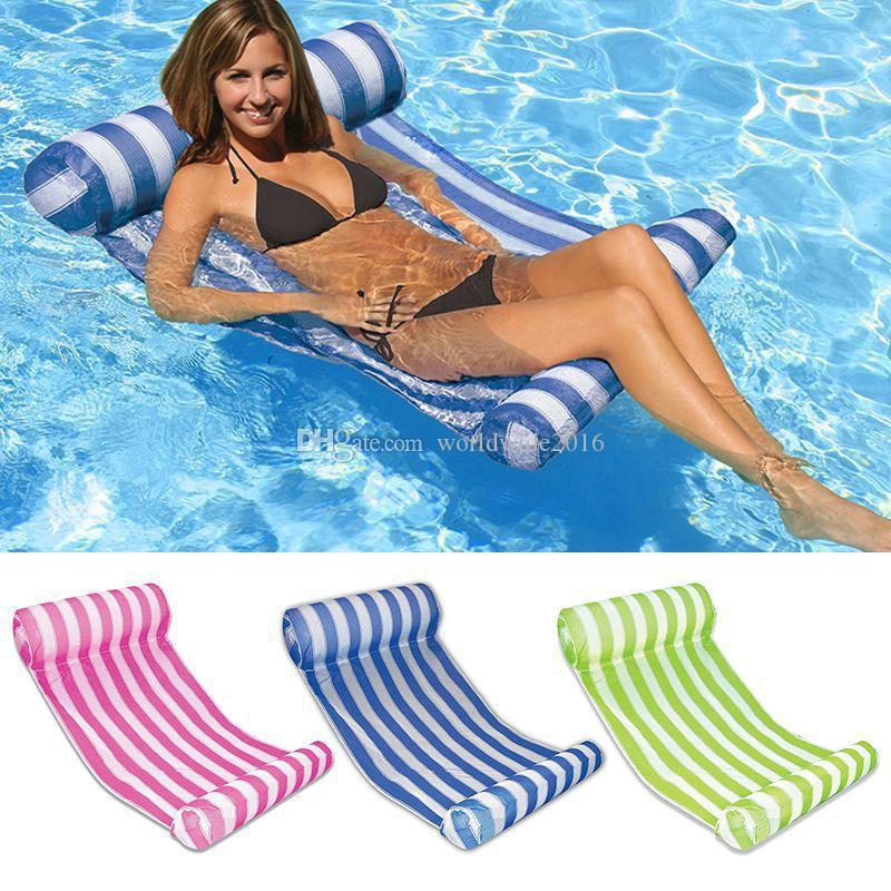 Hot sale! new Summer Water Hammock Stripe Pattern Lounge Inflatable Floating Bed for Beach Swimming pool chair party water inflatable bed