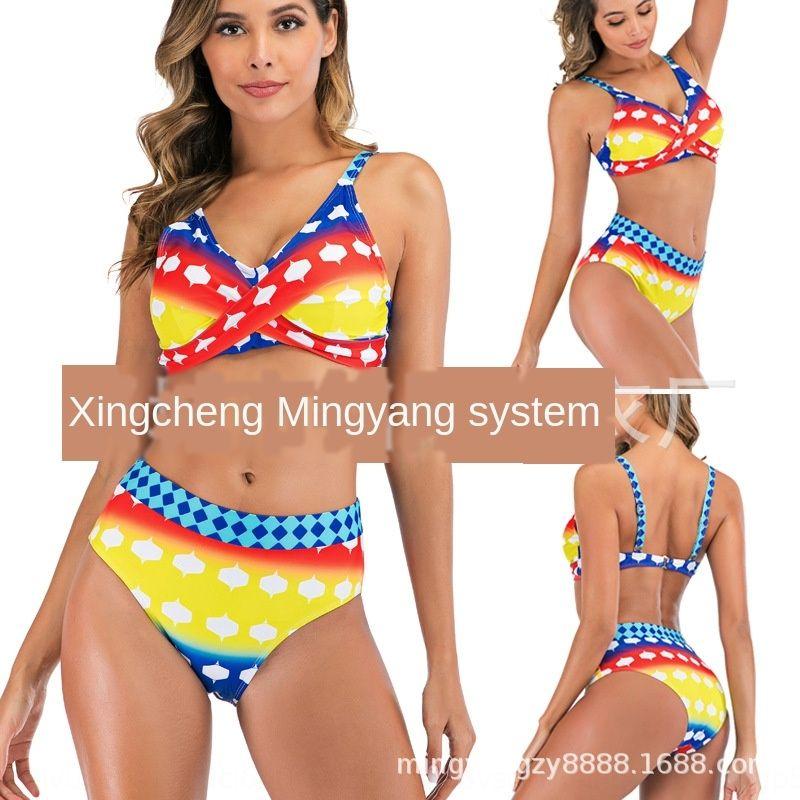 2020 hohe Split-Regenbogen Bikini Sling Bikini Wellenpunkt Kreuz Frauen Schlinge Taille