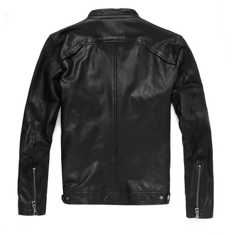 2020 nuevos hombres chaqueta de cuero genuino ovejas reales de la piel de cabra Marca Negro Hombre Bombardero de la motocicleta del motorista Mans capa masculina del collar del soporte