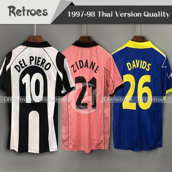 1997 1998 Retro Soccer Jersey 97 98 Home # 21 Zidane 99 00 # 10 del Piero via Terzo # 26 Boban Classic Manica lunga Davids Camicia da calcio