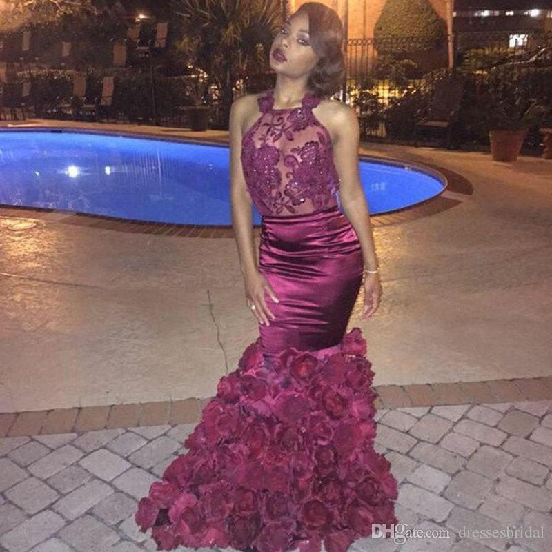 Çiçek 2019 Gelinlik Modelleri Backless Illusion Boyun Sheer Gelinlik Modelleri Mermaid Elbise See Through Lüks Abiye