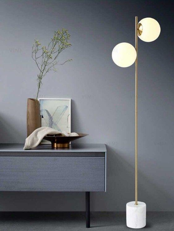 2020 modern floor lamp 2 head glass shade living room
