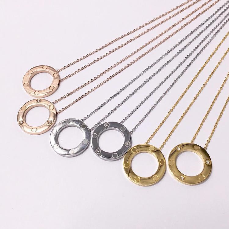 Raffinata collana a cerchio rotondo in acciaio inossidabile 316l per donna, uomo, gioielli, collana a vite con gioielli in cristallo di alta qualità