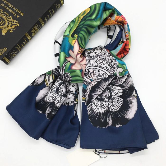 Brand design women's fashion square scarf 100% twill silk material good quality print elephant lotus pattern size 130cm - 130cm
