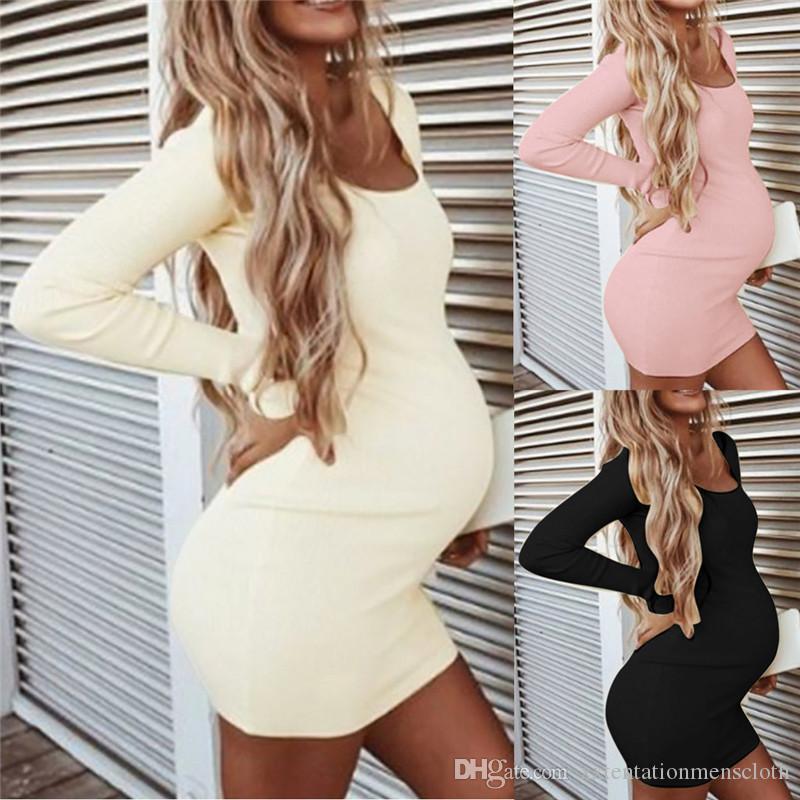 Schwangerschaft Designer Damen Kleider beiläufigen reizvolle dünnen Normallack Langärmlig mit Rundhalsausschnitt, figurbetontes Kleid Mode für Frauen beiläufige Kleider