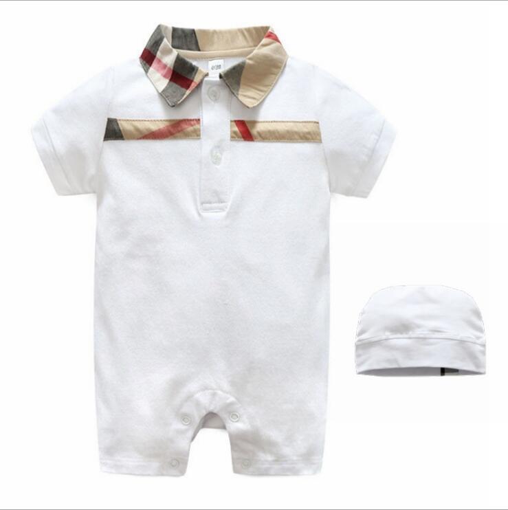 Vente au détail plaid bébé barboteuse vente chaude Nouvel été bébé garçons filles barboteuses enfants coton à carreaux coton manches courtes Combinaisons + chapeaux ensemble