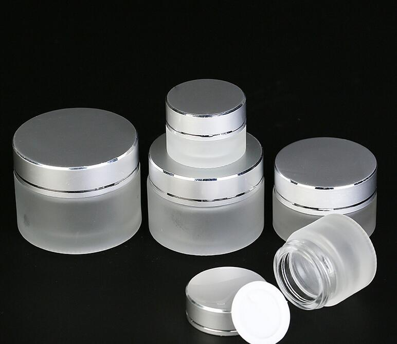 5g 10g 15g 20g 30g 50g Frosted Glass Cosmetic Jar Empty Face Cream Lip Balm Storage Container Refillable Sample Bottle with Silver Lids DHL