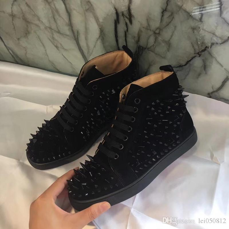 [Mit Box] Luxurious Männer / Frauen-Rot-Unterseite Wohnungen High Top echtes Leder Studs Sneaker Outdoor Casual Gehen Designer Schuhe 36-46