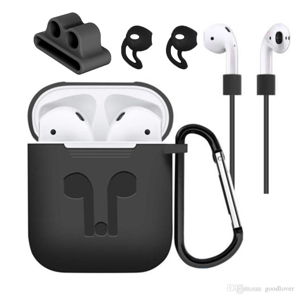 Heißer verkauf silikon case abdeckung kopfhörer beutel schützende haut anti-lost wire eartips drahtlose kopfhörer case für apple airpods