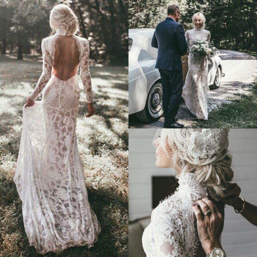 Großhandel Robe De Mariage 16 Lange Ärmel Meerjungfrau Brautkleider Boho  High Neck Country Lace Backless Böhmisches Hochzeitskleid Brautkleider Von