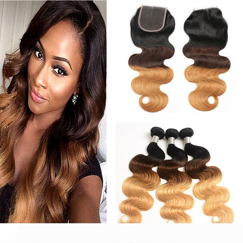 3 Tone 1B 4 27 Body Wave Ombre Bundles with Lace Closure Dark Roots Brown Honey Blonde Ombre Peruvian Hair Weaves with Closure