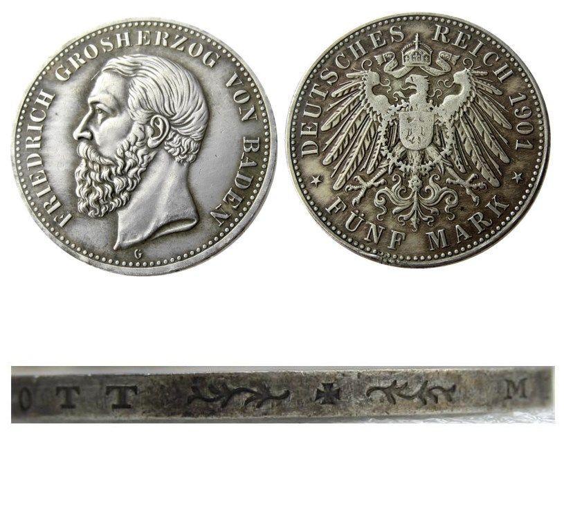 1901 독일 5 Mark States Baden - 프리드리히 코인 동전 무료 배송