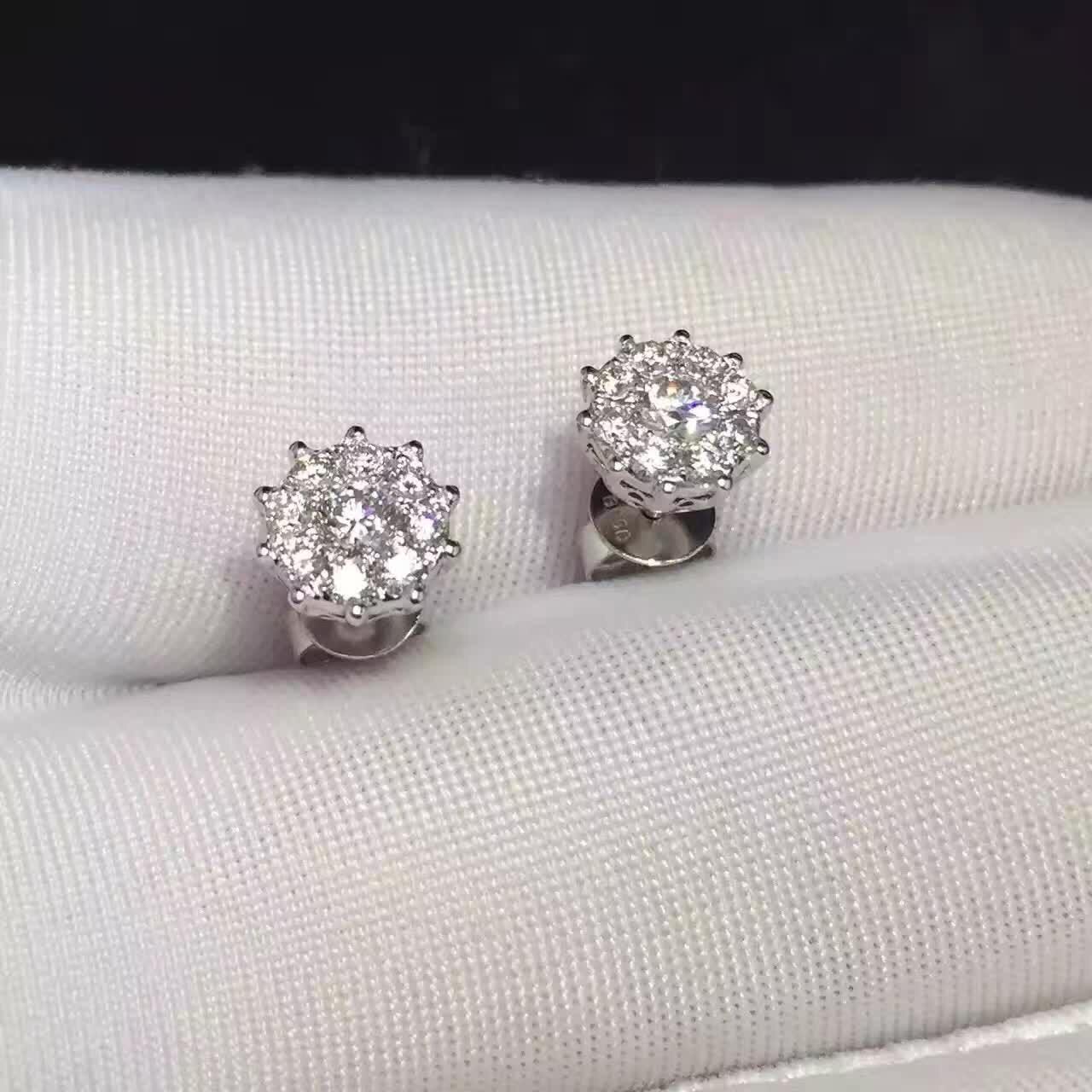 Завод сертифицирован 18k Solid белого золота с бриллиантами Восемь объемного один алмазный стержень уха ювелирных изделий для ювелирных изделий женщин серьги оптовой