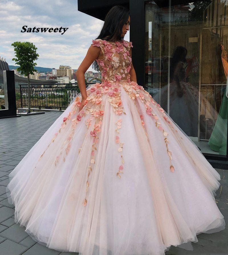Princess Floral Flowers Ball Gown Quinceanera Dresses Sweet 16 Dress Prom Puffy Girls Pageant Lace Appliques