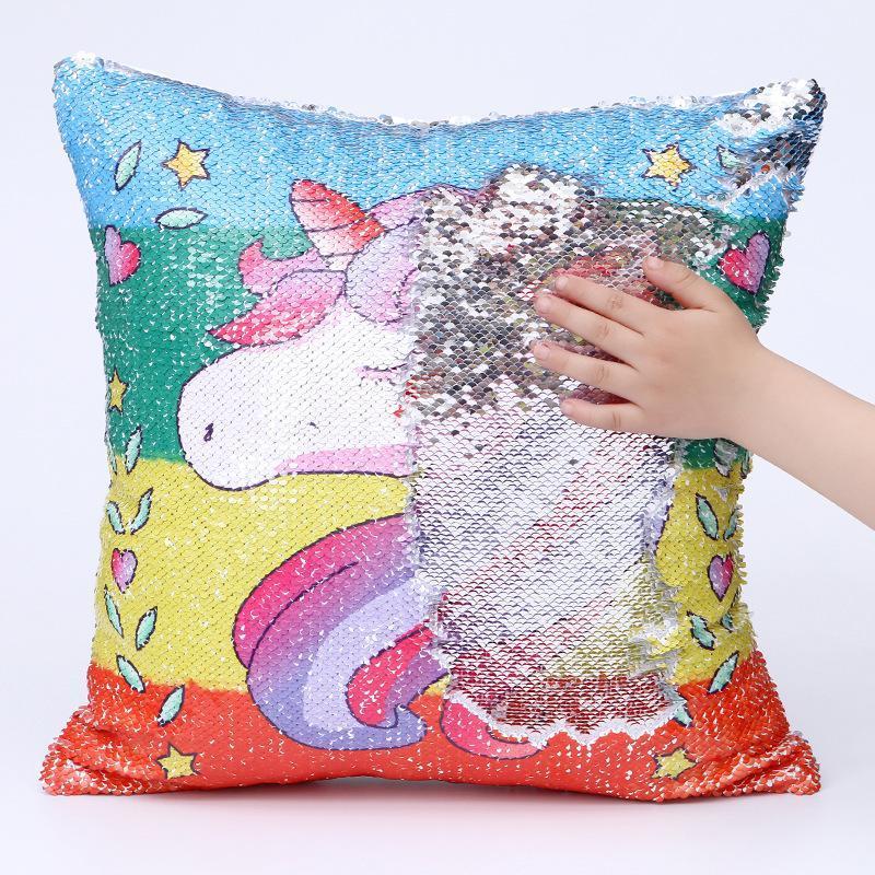 Paillettes réversible Changement de couleur 3D Imprimé Unicorn Taie d'oreiller Couverture de Super Brillante Cartoon magique sirène Coussin DH0421