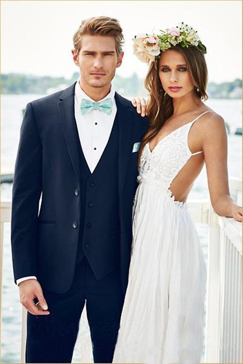 New Latest Design Navy Blue Men Suits for Wedding Gentle Groom Suit Handsome Mens Blazers Jacket Slim Fit Tuxedos 3 Pieces Prom Wear 497