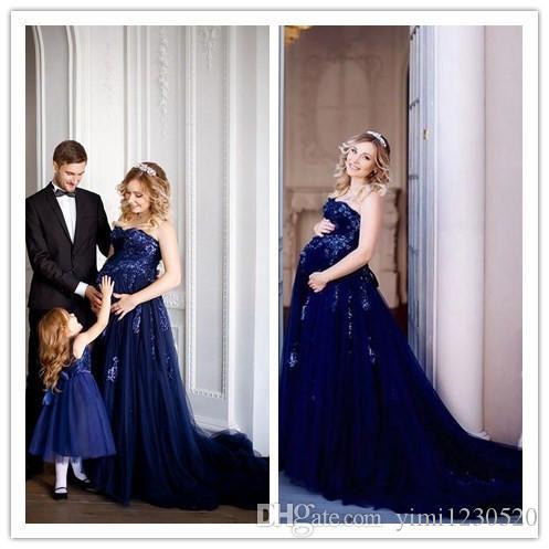 Dark Navy maternidad embarazadas vestidos de baile 2019 Sweet Heart Backless Sweep Train apliques de lentejuelas largos vestidos de fiesta de noche formal