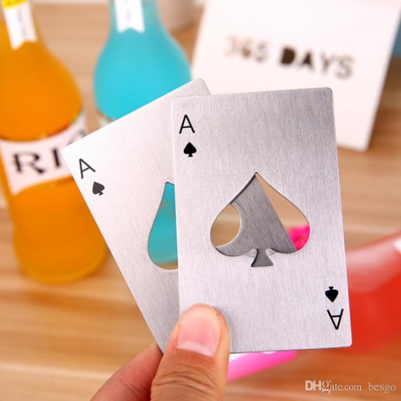 Creativa tarjeta del póker de botellas de cerveza abridor La Barra de Herramientas botellas de soda Abridor portátiles negro durable del naipe de las espadas de plata abridor DH1245 T03