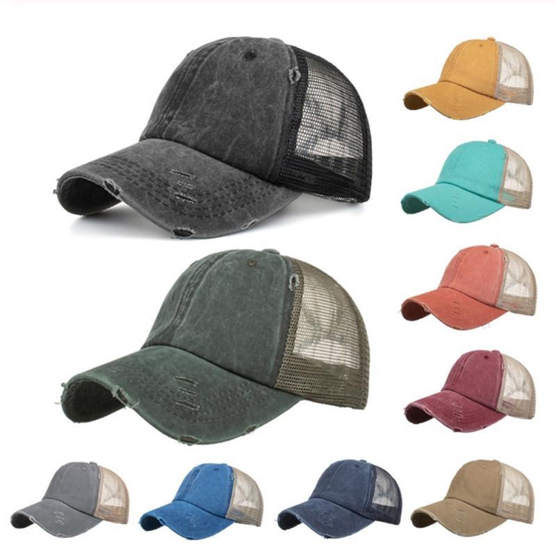 At Kuyruğu Beyzbol Şapkası Spor Ayarlanabilir Anti-Ter önleyici UV Nefes Unisex Mesh Şapka Trucker Hat Güneş Şapka YYA108-3