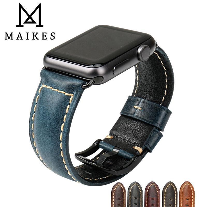 مايكيس لساعة أبل 42 مم 38 مم / 44 مم 40 مم سلسلة 4/3/2/1 Iwatch جلد أزرق شمع جلد Watchband لساعة أبل T190620