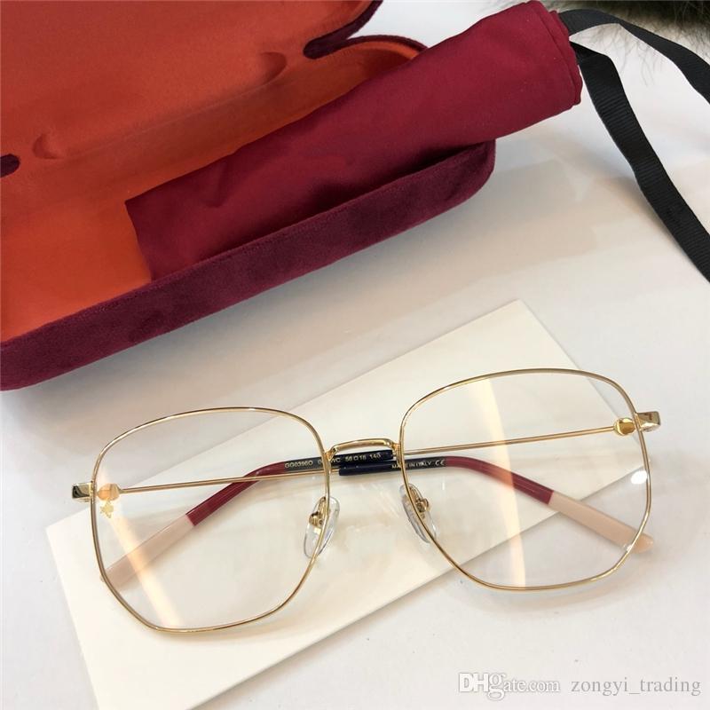 جديد جودة عالية 0396 مصمم العلامة التجارية النساء نظارات الرجال النظارات النظارات الأزياء الشعبية إطار بصري مع مربع الأصلي نظارة دي سولي