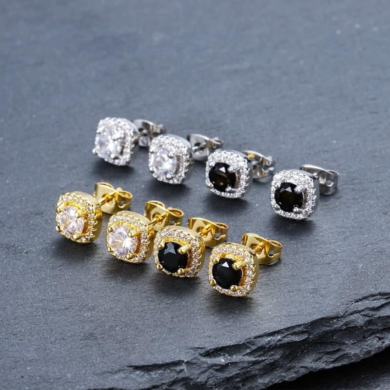 Mens Hip Hop Stud Earrings Jewelry High Quality Fashion Round Gold Silver Black Diamond Earrings For Men