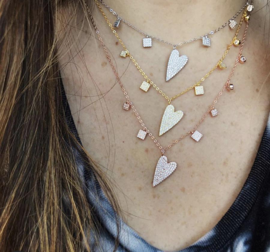 Kadınlar çok katmanlı seksi gerdanlık Takı için kolye S925 gümüş geometrik çekicilik Kalp Shape kolye cz altın dolu damla