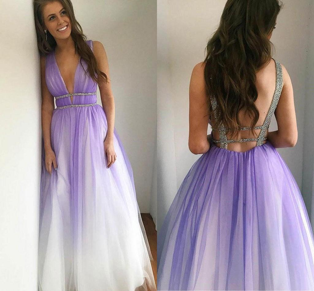 Newest Stylish Deep V neck Ombre Prom Evening Dress Formal Gowns 2020 Gradiant Backless Bling cheap Long Quinceanera Party Pageant Dress