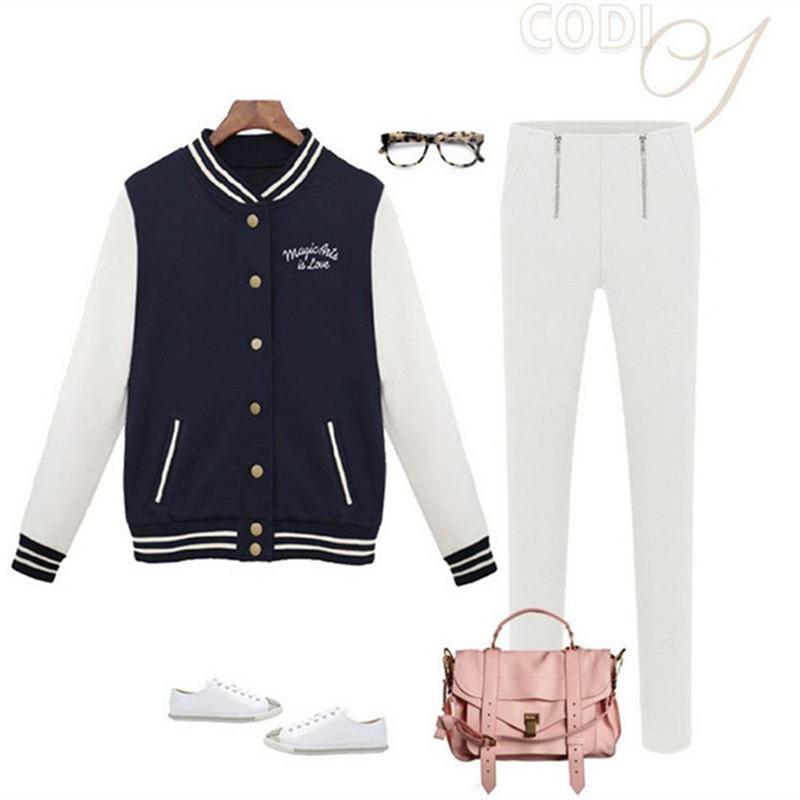 Großhandel Frauen Baseball Jacke Casacos Femininos Adrette College Jacken Bomberjacke 2019 Neue Frühling Winter Mäntel Basic Outwear XXL T190606 Von