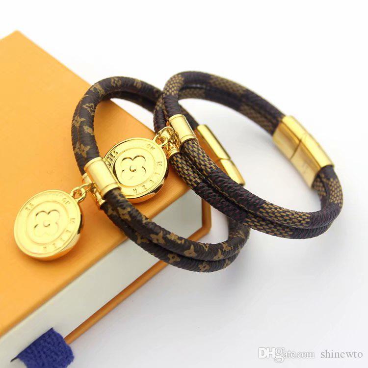 Marca de moda Nomeados Pulseiras Lady V Projeto Carta Dupla Cordão De Couro Pulseira Pulseira Com Banhado A Ouro 18K Rodada Disco 2 Cor