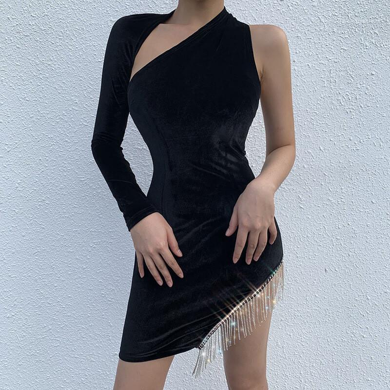 Backless Panelled Split Tassel Womens Designer Dresses Casual Females Clothing Sexy Womens Casual Dresses Fashion Irregular