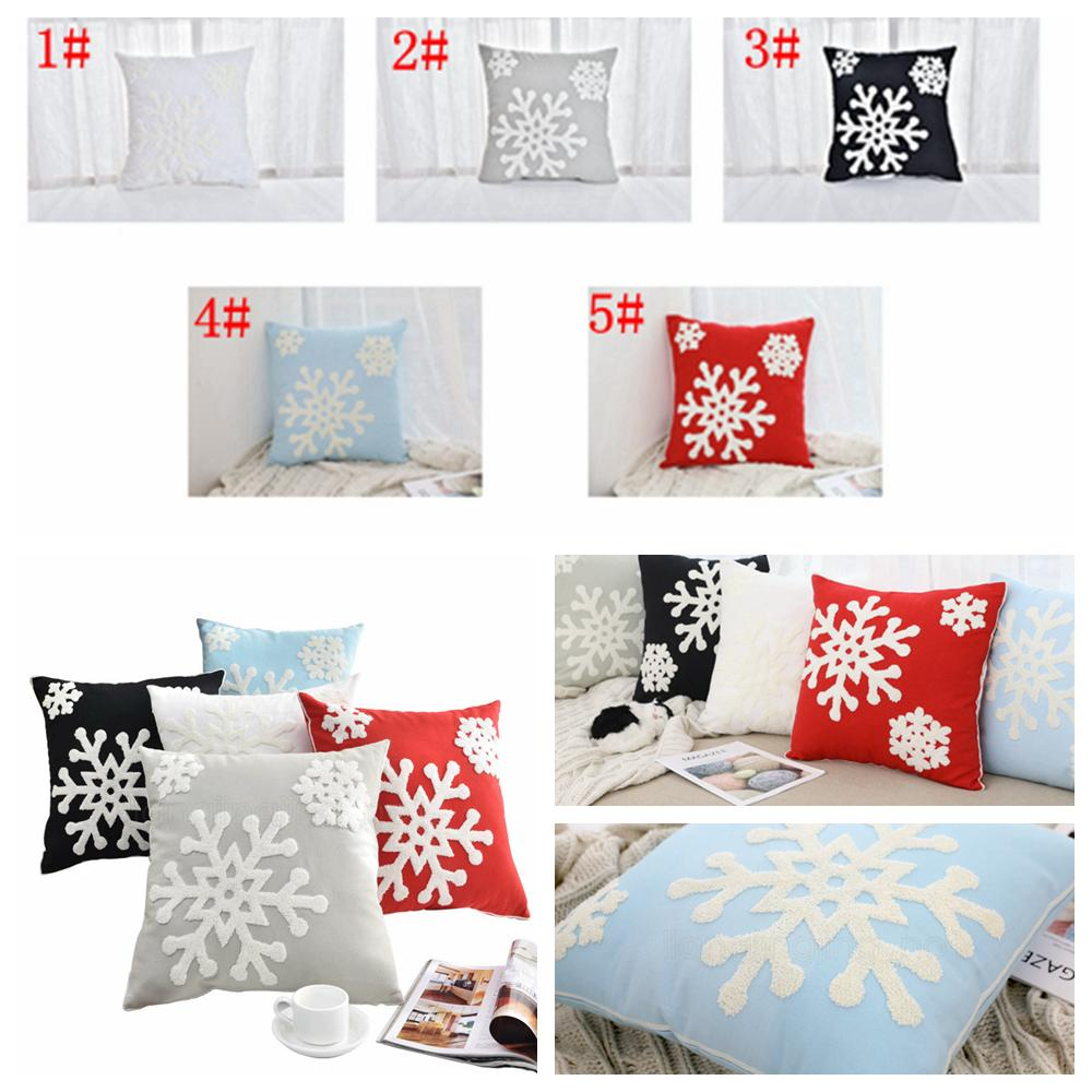 5styles Snowflake Pillow Case Covers Cotton Line Embroidered Throw Pillow Cushion Cover Home Christmas Decor Gifts 45*45cm FFA3000