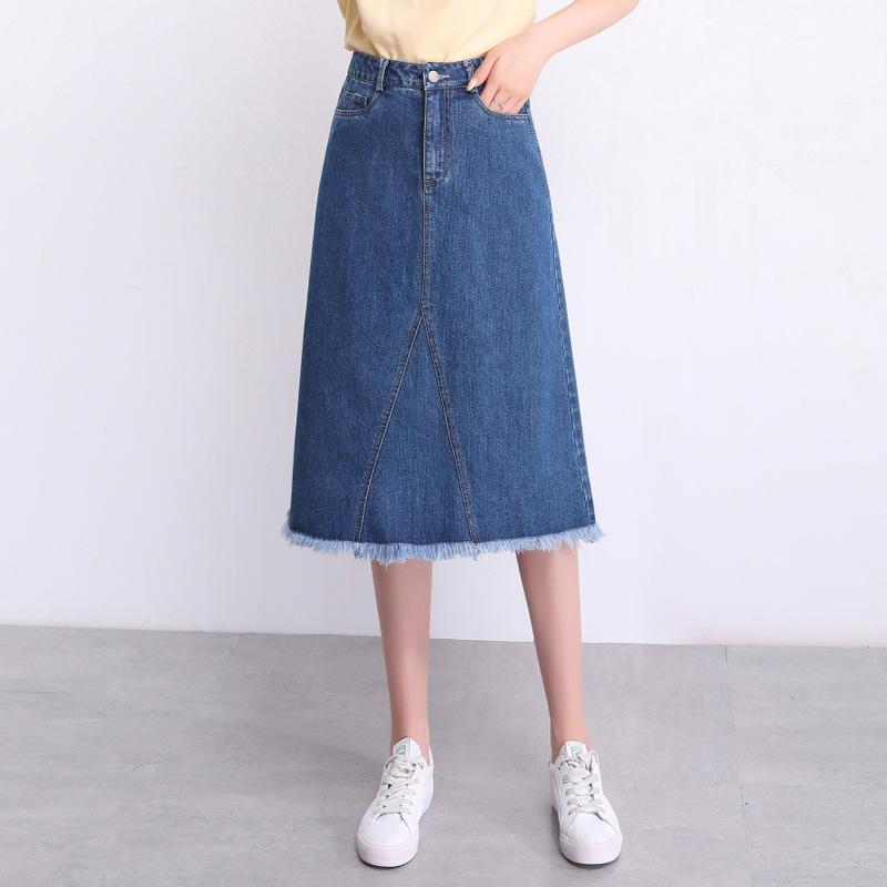 Women Summer High Waist Tassel A-line Denim Skirts Office Lady Elegant Korean Plus Size Slim Casual Knee-Length Jean Skirts 9718