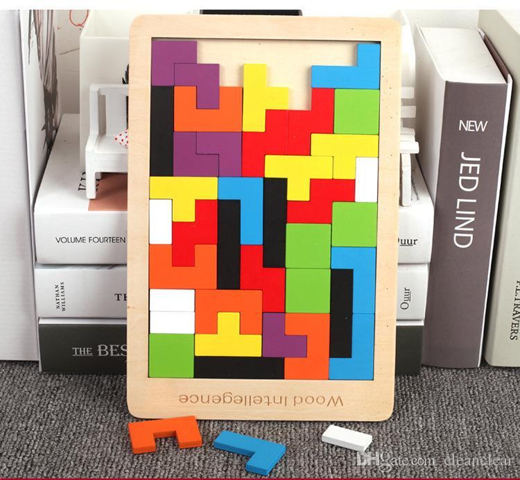 Ahşap Tangram Beyin Teaser Bulmaca Oyuncaklar Tetris Eğitim Çocuklar Bebek Çocuk Oyuncak