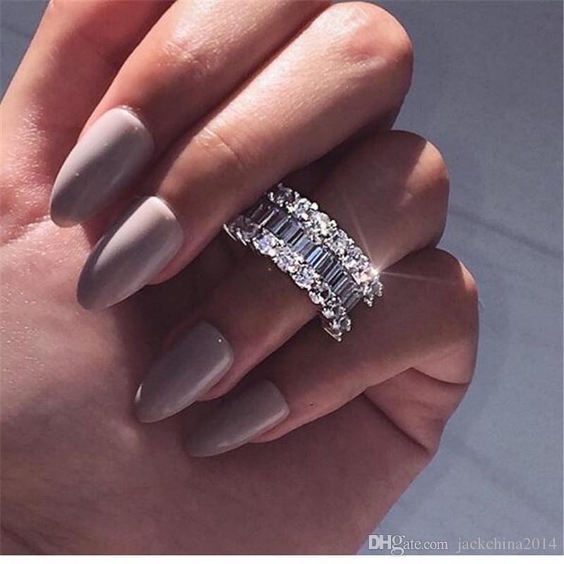 2019 Новое прибытие Роскошные ювелирные изделия стерлингового серебра 925 Полный Princess Cut белый топаз CZ Алмазный Promise Свадебные кольца для женщин Подарок