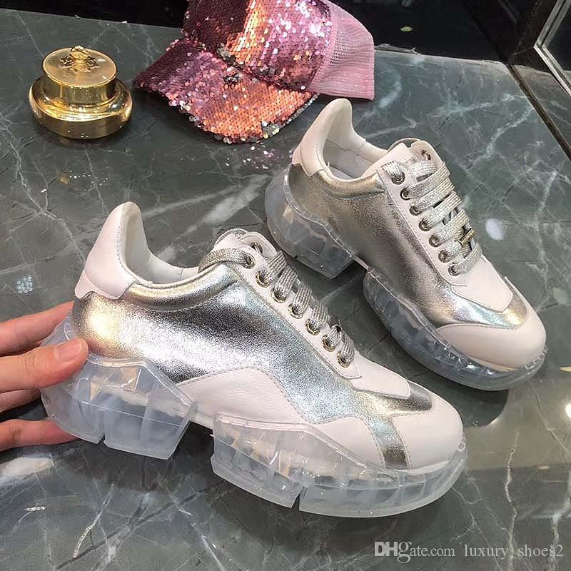 Sapatos casuais Dad Sneaker Paris Fashion homens Mulheres Sapato Plataforma Sports cristal fundo balck prata branco Web vermelho r22 Imprimir