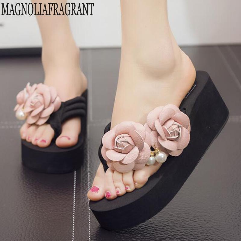 Novo Confortável Plana Sandálias de Salto Mulheres Sapatos de Verão Mulher Bohemia Flores Praia Senhoras chinelos chinelos plataforma mulheres c504