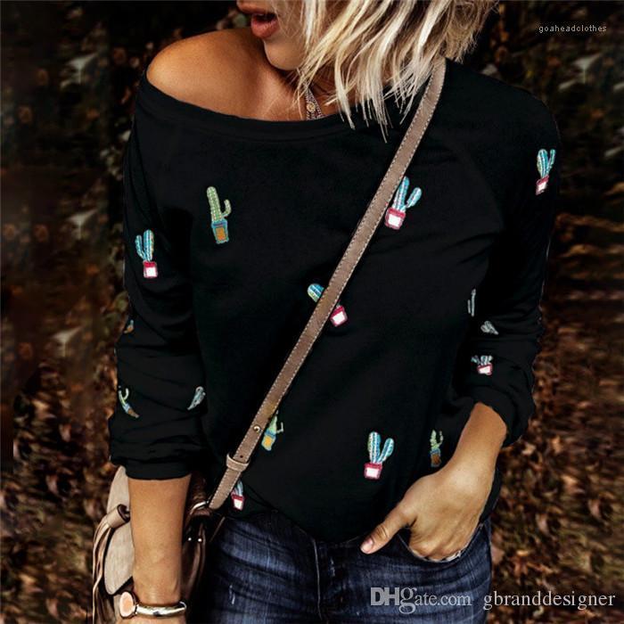 Tshirt Sonbahar Sevimli Mürettebat Boyun Baskı Cactus Desen Moda Astar Günlük Rahat Kadınlar Dişiler Uzun Kol Tops