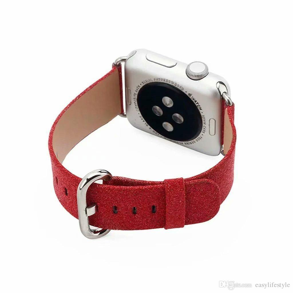 Bling Glitter leather Strap band wristband Replacement for apple watch series 5 4 3 2 1 woemen girls gift 38mm 40mm 42mm 44mm