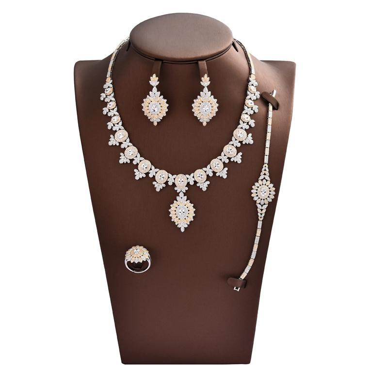 Moda Cubic Zirconia elegante Retro doppio colore quattro Articolo Set, cerimonia nuziale / partito / Jewelry cena per Accessaries SD057 delle donne