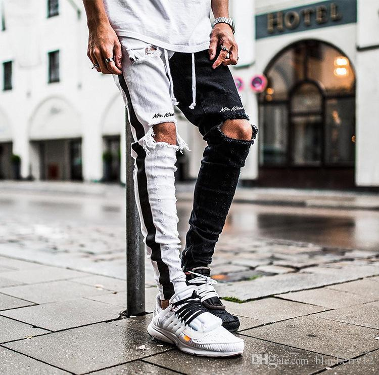 Mens Jeans Pants Casual Skinny Black Side Color Matching Jeans Hip Hop Broken Zipper Nightclub Pants Street Style Black and White