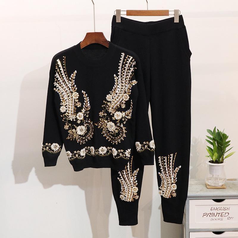 Kış Yeni Moda Kadın Örme Harlan ayak pantolon takım elbise women1 kazak uzun kollu Boncuklu Pullu nakış ayarlar