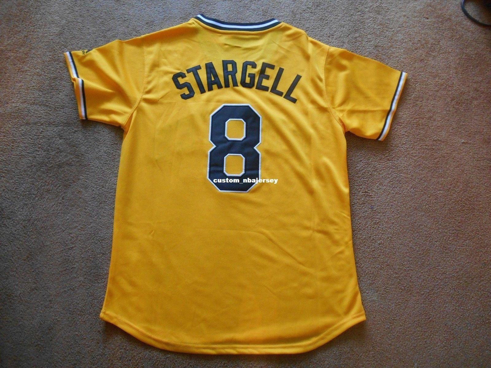 Ucuz özel Willie Stargell herhangi bir ad numarası BAY BAYAN GENÇLİK Formalar 8. Pittsburg Sarı Beyzbol Jersey Dikişli özelleştirme