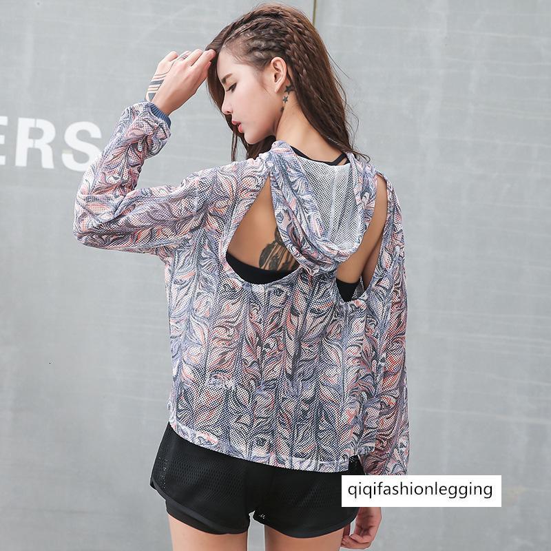 Gevşek Büyük Kod Giyim Bluz Baskı Lian Cap Üst Güzellik Geri Hollow Azalıyor Spor Yoga Uzun Kollu Bayan