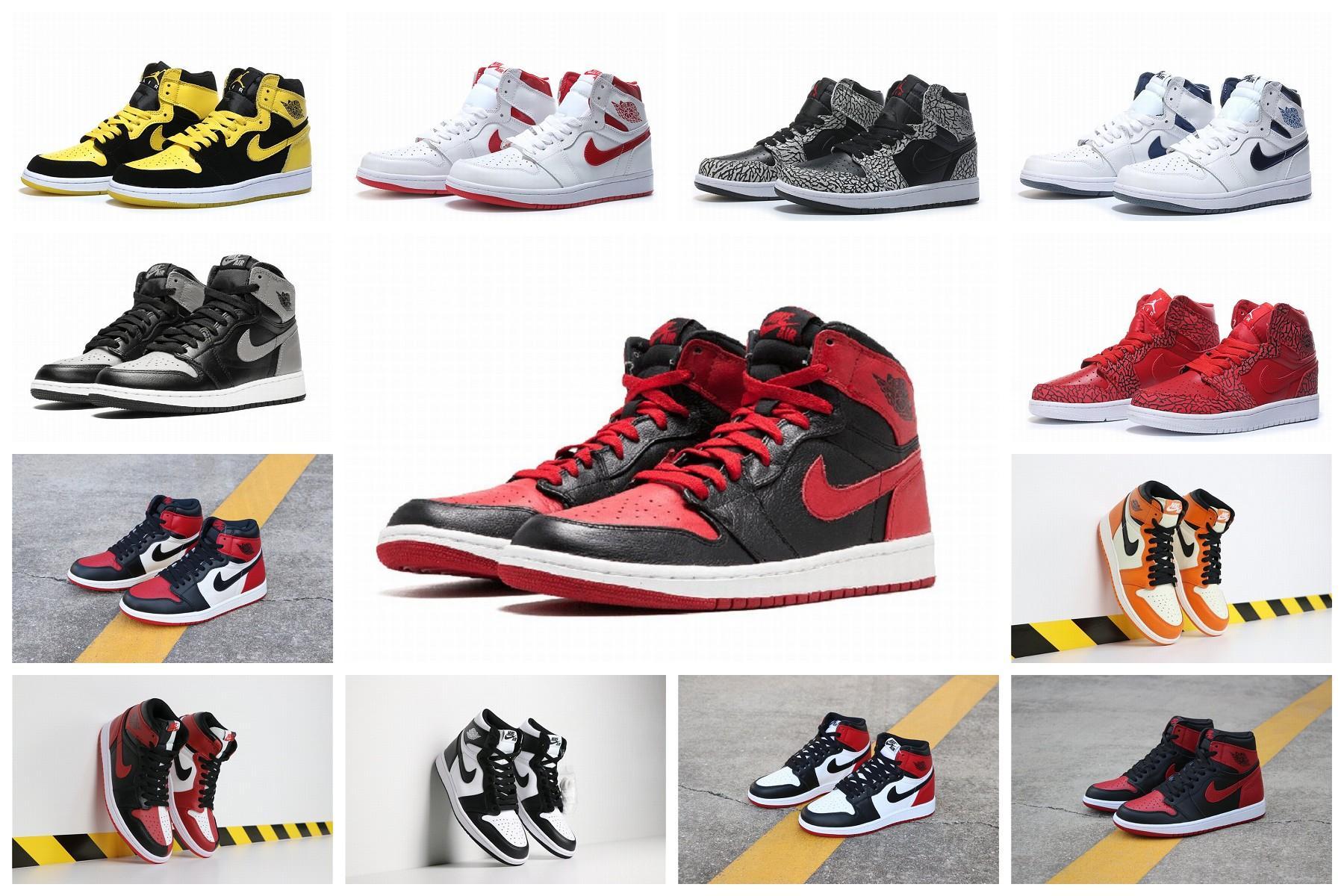 2020 AJ1 uomini di alta scarpe da basket TOP 3 Chameleon 1S Toe Nero Banned Berd Outdoor sport del Mens Sneakers Trainers AJ1 40-46