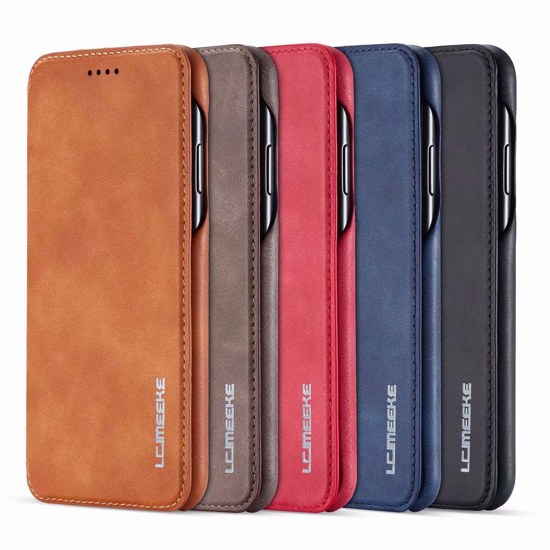 Monedero de lujo titular de la tarjeta magnética del cuero del tirón del teléfono del iPhone Cubierta Para 6 7 8 XS Max XR 11 Pro Samsung S8 S9 S10 S20 Nota 8 9 10 20 Plus