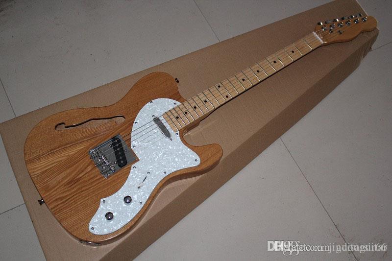 Top Quality novos modelos de guitarra elétricas semi-ocas Telecaster F-buraco única guitarra cor de madeira