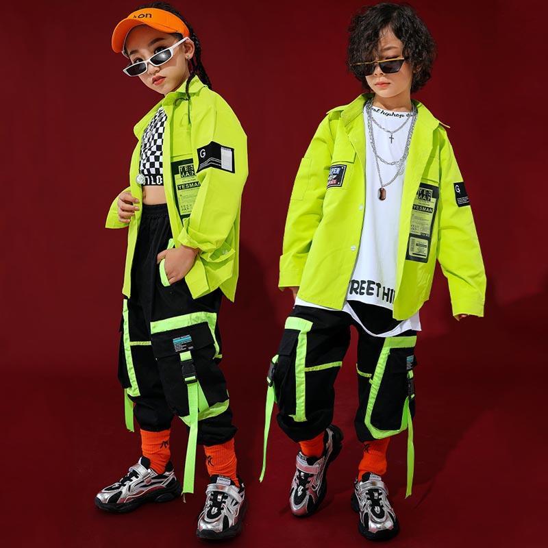 Hip Hop Outono dança roupas para crianças Verde Tops garotos hip hip calças New Girls Jazz Dança Vestuário Ballroom Desempenho Costume BI208